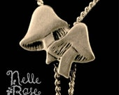 Double Liberty Mushroom vintage silver lariat necklace - 20% off for BLACK FRIDAY and FREE shipping