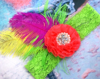 Ready to ship  girls Bright big OTT feather headband photography prop bling 1-6 years tropical neon