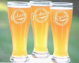Personalized Groomsmen Gifts, Beer Glasses, Wedding Toasting Glasses, Pint Glasses, 5 Custom Beer Mugs, Gifts for Groomsmen, 16oz Glassware