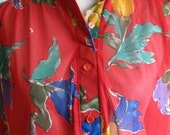 Vintage 1970s Sheer Red Watercolor Floral Print Blouse by Teddi of California Womens Size Large