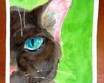 Cat on Green Watercolor Painting