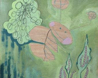 Fine Art Print- Bugga Boo- Reprodution of Original Mixed Media Artwork