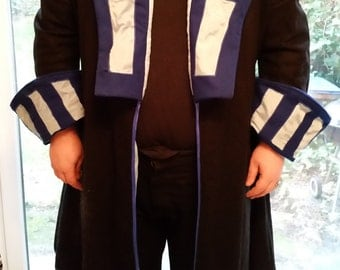 Black and blue wool pirate coat