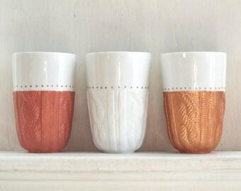 Cozy Cable Mug // Ceramic Double Walled Tumbler // Sweater Mug