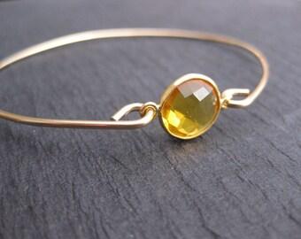 Faceted Citrine Gemstone Bangle Bracelet   November Birthstone   Citrine Gemstone Jewelry, 14k Gold bangle Bracelet, November Birthday