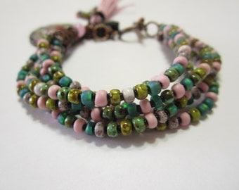 6 Stranded Boho, Beaded Charm Bracelet