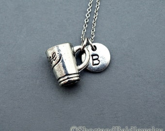 Coffee mug necklace, coffee mug charm, Coffee mug lover, initial necklace, initial hand stamped, personalized, antique silver, monogram