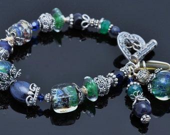 Lampwork Bead Bracelet -Artisan Handmade Boro Cube- Bali Silver -Shades of Green Blue
