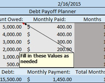 Debt Payoff Planner Excel Sheet