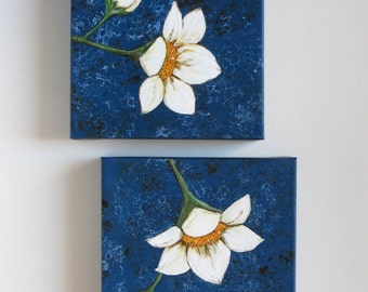Midnight Blossoms acrylic painting original painting white flowers nature and lace