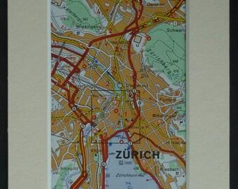Vintage Mounted Map of Zurich, Retro Switzerland decor, Swiss road map art, vintage map art, Swiss wall art, mounted road map,1980's map art