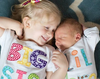 Sibling Shirts with BONUS ~ Big Sister, Big Sis, Little Sister, Lil Sis, Big Brother, Big Bro, Little Brother, Lil Bro Onesie