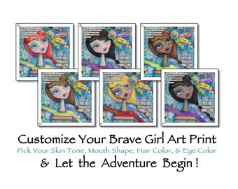 Customizable Brave Girl Warrior Art with Inspirational Quote, Collage Word Text Personalized Mixed Media custom art celebrating diversity