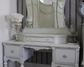 SOLD - - -  Elegant refinished antique French Provincial vanity with attached mirror
