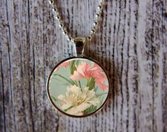 Carnation Necklace, January Birth Month Necklace, Carnation Jewelry, January Flower of the Month, Birthday Necklace,  January Birthday Gift