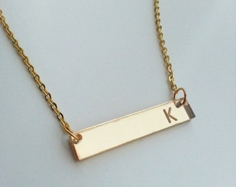 Personalized Initial Bar Necklace (Mirror Acrylic)
