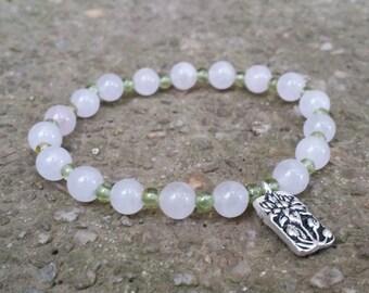 Rose quartz peridot mala stretch chakra bracelet silver lotus charm