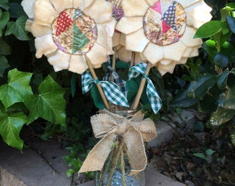 Primitive Flower Stems made from Cutter Quilt