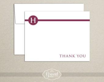 Monogram Thank You Card (Set of 10) - Personalized Custom Stationery - Wedding Thank You