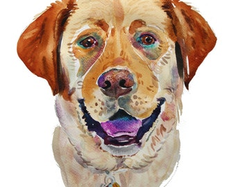 Custom Pet Portrait -  Custom Portraits  - Dog Portrait  - Watercolor Painting - Gift Art - Dogs