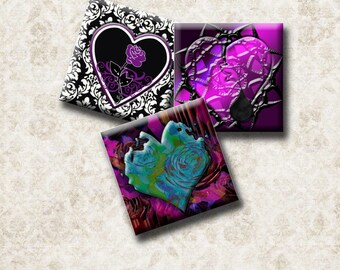 GOTHIC HEARTS -  Digital Collage Sheet 1 inch square images for pendants, scrap-booking, magnets, etc. Instant Download #212.