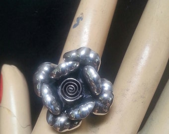 sterling silver rose flower ring alternative steampunk gothic art nouveau victorian