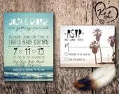 PRINTABLE Bohemian Beach Wedding Invitation Set Boho Chic Gypsy Hippie Ocean Wanderlust Bonfire Palm Tree Sand Reception RSVP Digital PDF