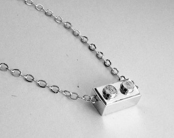 Handmade Sterling silver Lego necklace.