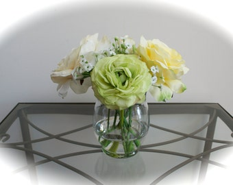 Rose & Ranunculus Flower Arrangement in Glass Vase with Faux Water, Acrylic Water, Luxury Spring Flowers, Mother's Day