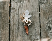 Rustic Dried Boutonniere with Tallow Berries and Dusty Miller