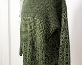Classy Vintage Green and Black Sweater Made in Italy Men Xl