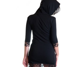 Last One! Still Alive jersey cotton black hoodie dress zombie horror punk - Handmade in Italy Limited Edition