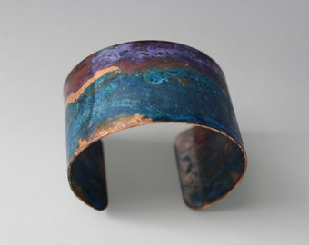 Blue & Purple Copper Patina Cuff Bracelet Handmade by Bethsgemboutique