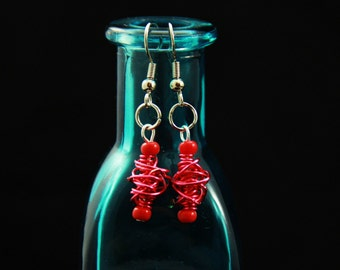 Red Wire Wrapped Dangle Earrings (WE0018)