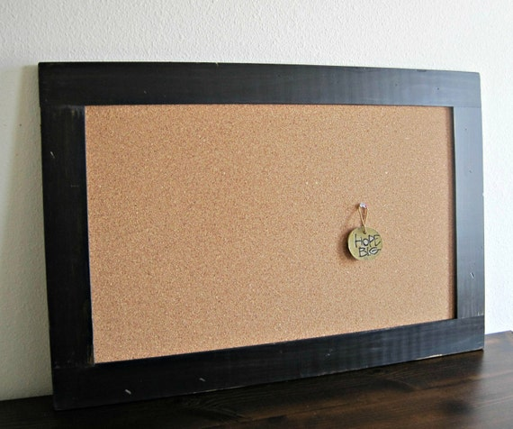 extra large framed cork board distressed wood in black 24 x 36 ready to