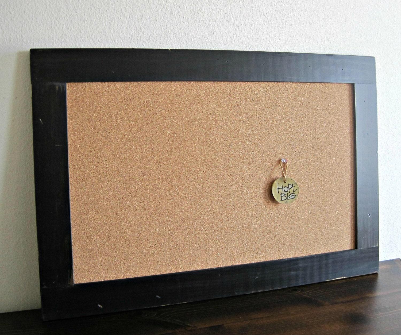 extra large framed cork board distressed wood in black 24 x. Black Bedroom Furniture Sets. Home Design Ideas