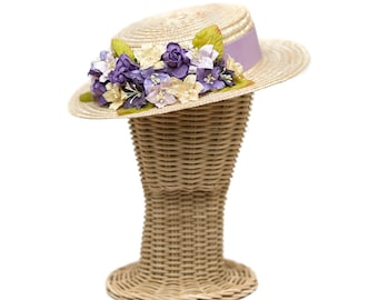 Boater hat - Canotier - Straw hat - with grosgrain ribbon and flowers ornament - purple, lilac and cream color