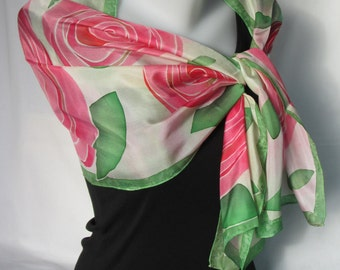 Hand painted long silk scarf - red pink and green rose design