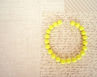 Lemonade Yellow Beaded Necklace - Yellow Clay Jewelry, Bright Yellow, Round Bead, 16 in., 20 in., READY TO SHIP