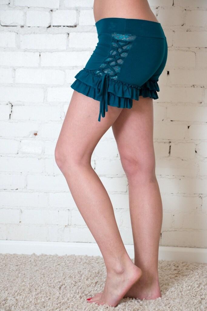 Umba lace ruffle shorts booty shorts yoga dance by umbalove