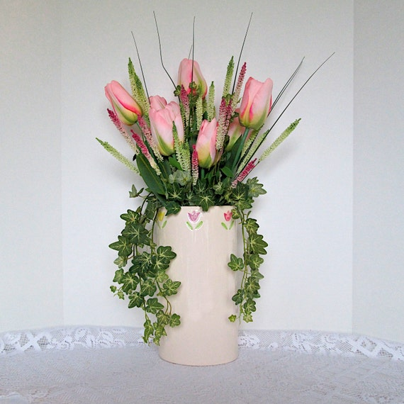 Tall Vase full of Pink Spring Tulips and Ivy, Silk Flower Arrangement ...