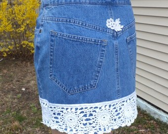 High Waisted Denim Mini Skirt - Repurposed, Upcycled, Recycled Clothing - Size 6