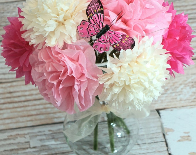 Pink & French Vanilla Tissue Paper Flower Bouquet