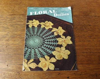 Floral Doilies ~ Crochet Instruction Booklet ~ J & P Coats - Clark's O.N.T. ~ Needlework Book ~ Needlecraft