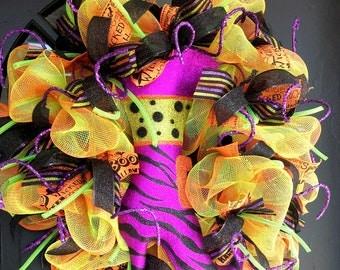 Witch Boot Halloween Deco Mesh Wreath