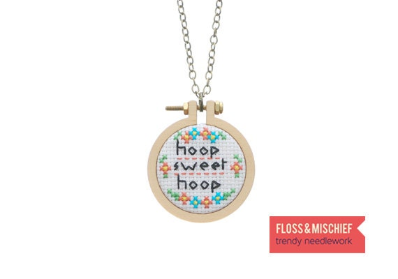 Necklace DIY kit - cross stitch jewellery kit, mini sampler pattern