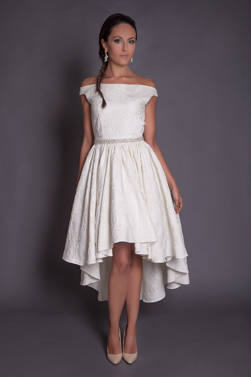 50s high low wedding dress in jacquard ivory hi lo wedding for Have wedding dress made
