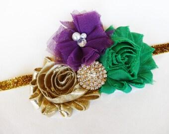 Mardi Gras Hair Piece - Fancy Headband - Gold Green Purple - King Headband - Little Girl Mardi Gras - Mardi Gras Bows - Cute Headband - Baby