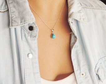 Our Turquoise Blue-Inspired Collection: The Teardrop Pear, December Birthstone Silver Detailings, layered look, gift giving everyday jewelry