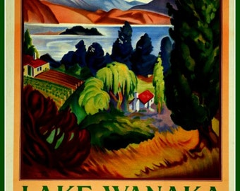 Art Print New Zealand Railways Lake Wanaka 1920s - Print 8x10